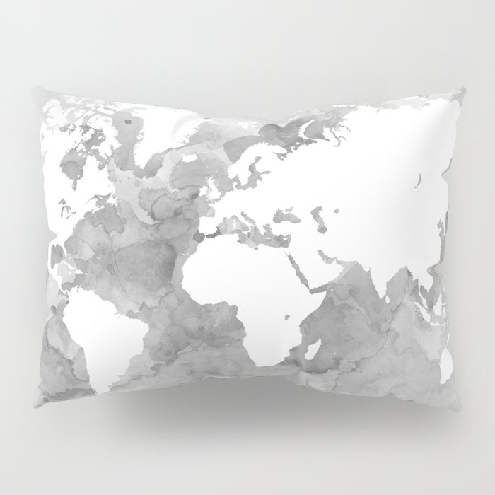 Design 49 grayscale world map pillow sham by artbylucie society6 design 49 grayscale world map pillow sham gumiabroncs Image collections