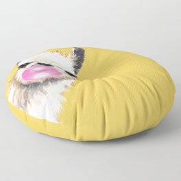 Bubble Gum Sneaky Llama in Yellow Floor Pillow
