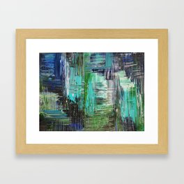 AQUATIC COMMOTION in Color - Textural Ocean Beach Nautical Abstract Acrylic Painting Wow Winter Xmas Framed Art Print