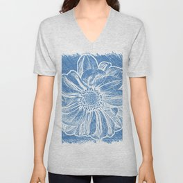 White Flower On Denim Blue Crayon Unisex V-Neck