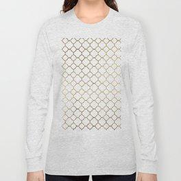 Elegant stylish white faux gold quatrefoil Long Sleeve T-shirt