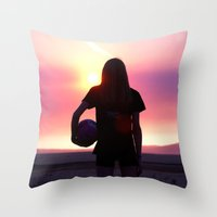 volleyball Throw Pillows featuring Volleyball Player by americansummers