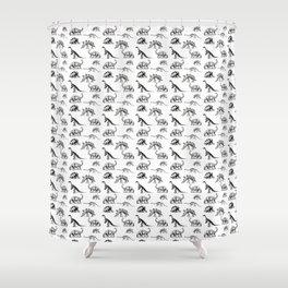 Museum Animals | Dinosaur Skeletons on White Shower Curtain