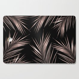 Rosegold Palm Tree Leaves on Midnight Black Cutting Board