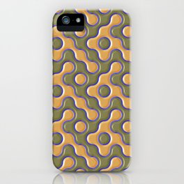 3D ORANGE AND BLUE WAVES iPhone Case