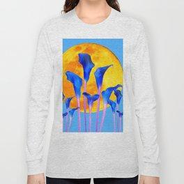 GOLDEN FULL MOON BLUE CALLA LILIES BLUE ART Long Sleeve T-shirt