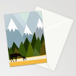 Woodland snowy mountain tops trees and mother moose and baby Stationery Cards