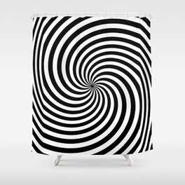 Black And White Op Art Spiral Shower Curtain