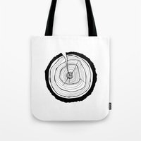 tree rings Tote Bags featuring Tree Rings by Kristy Ann