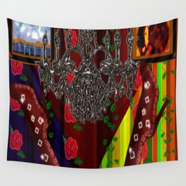 Red Boots in air by chandelier Wall Tapestry