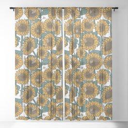 Sunflowers + Bees Sheer Curtain
