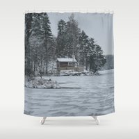 cabin Shower Curtains featuring Red Cabin by Accessorius