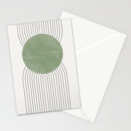 Green Moon Shape Stationery Cards
