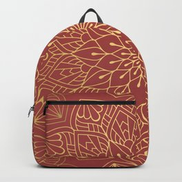 Gold Mandala Pattern On Cherry Red Backpack