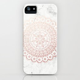 Rose gold mandala and grey marble iPhone Case