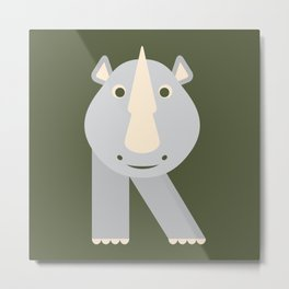 Letter R // Animal Alphabet // Rhino Monogram Metal Print