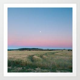 Moon Over The Horizon Gradient Art Print