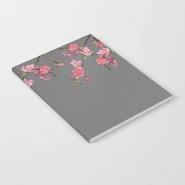 Cherry Flowers grey background Notebook