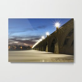 Lights shining bright on the Veterans memorial bridge, Columbia, Pa. Metal Print