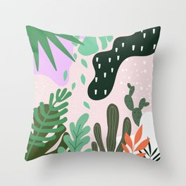 ABSTRACT PASTEL TROPICAL JUNGLE CACTUS PATTERN Throw Pillow