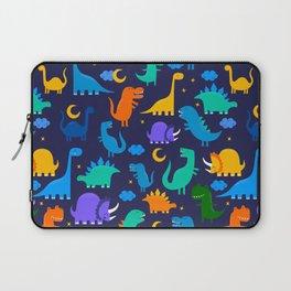Dinosaurs At Night Blue Orange Green Dinosaur Kids Pattern Laptop Sleeve