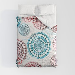 3D Medallions Red Blue Comforters
