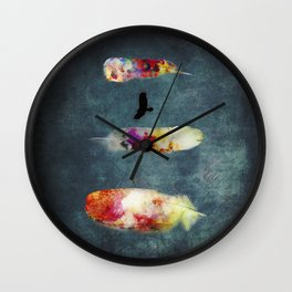 Three Feathers And A Bird Wall Clock