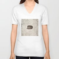hedgehog V-neck T-shirts featuring Hedgehog by Mr & Mrs Quirynen