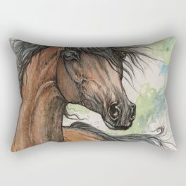 Bay arabian horse Rectangular Pillow