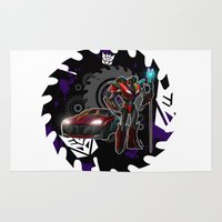 transformers Area & Throw Rugs featuring Transformers He's A KnockOut! by Laserbot
