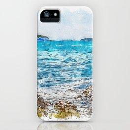 Aquarelle sketch art. Cormorant on the rocky beach in Istria, Croatian coast iPhone Case