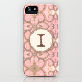 Monogrammed Letter I Scroll Swirl Modern Pattern in Pink iPhone Case