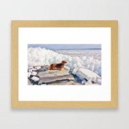 Dachshund and ice age Framed Art Print