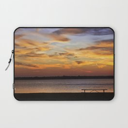 Sitting on the Bench by the Lake Laptop Sleeve