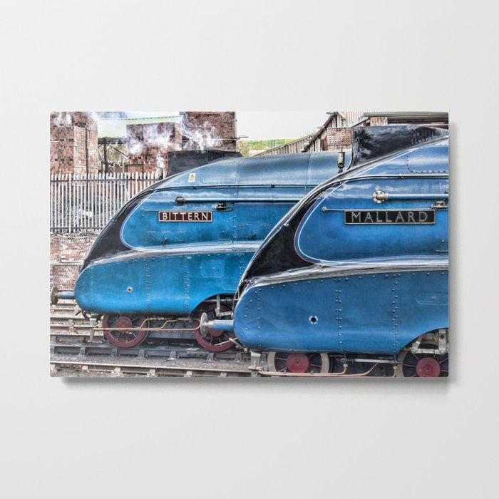 A4 Gresley Pacific Steam Locomotives on Shed Metal Print
