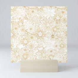 Elegant golden floral doodles design Mini Art Print