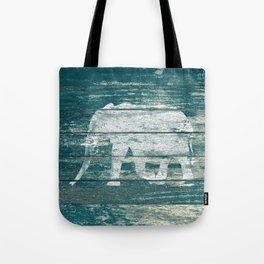 Elephant Silhouette on Blue Wood A215B Tote Bag