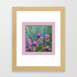 PINK-WHITE PATTERNED PURPLE & PINK IRIS GARDEN Framed Art Print