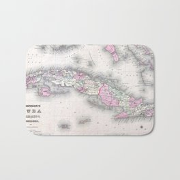 Vintage Map of Cuba (1861) Bath Mat