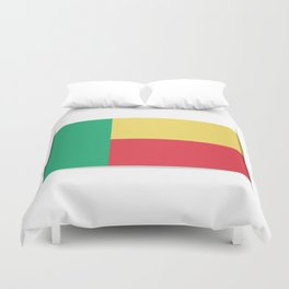 Flag of Benin. The slit in the paper with shadows.  Duvet Cover