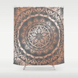 Rose Gold Gray Floral Mandala Shower Curtain