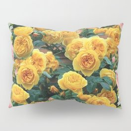 PINK & YELLOW SPRING ROSES GARDEN VIGNETTE Pillow Sham