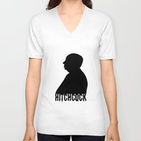 hitchcock V-neck T-shirts featuring Alfred Hitchcock by Silvio Ledbetter