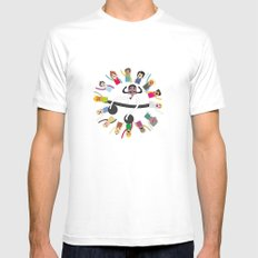 Dancing Circle Deejay MEDIUM Mens Fitted Tee White