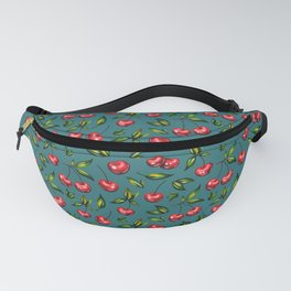 Watercolor cherry pattern on turquoise background Fanny Pack