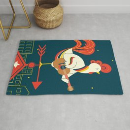 Rooster A Clock Rug