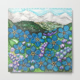 Mountains and Forget-Me-Nots Metal Print