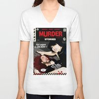 dramatical murder V-neck T-shirts featuring MURDER STORIES by Thomas B.- Rock Artwork