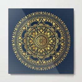 Blue & Gold Boho Pattern Metal Print