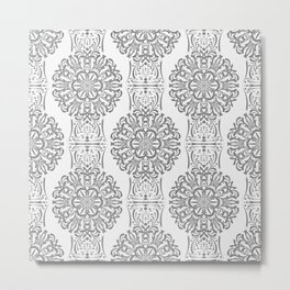 Gray white Damask ornament . Metal Print